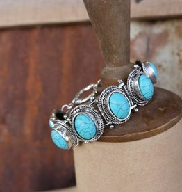 6 Oval Turq Concho Bracelet with Toggle