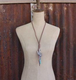 Brown Braided Leather with Large Cactus and Turq Strand Necklace