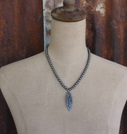 Burnished Silver Single Strand with Oval Arrow Charm Necklace