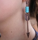 Burnished Copper Arrow with Turq Accents Earring