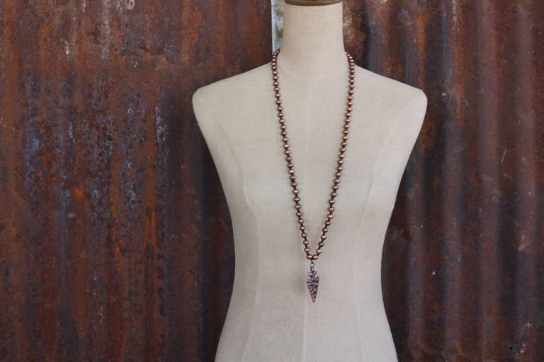 Burnished Copper Tied Bead Necklace with Arrowhead