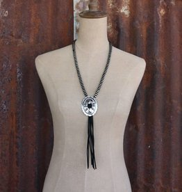 Burnished Silver and Black Rondell Bead with Burnished Silver Concho and Black Leather