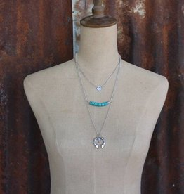 Burnished Silver 3 Tier Necklace with Triangle, Turq Bead and Naja