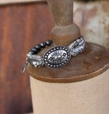 Burnished Silver Concho Stretch Bracelet with Feather and Bead Accents