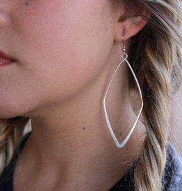 Punchy's Burnished Silver Large Diamond Shaped Earring