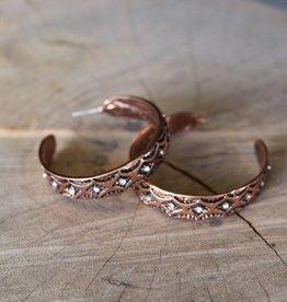 Copper Aztec Hoop with Rhinestone Earrings