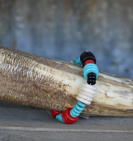 Red Turquoise White and Black Disk Bead Stretch Bracelet