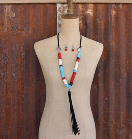 Red Turquoise White Black Large Disk Bead with Black Leather and Burnished Silver Buffalo Charm Necklace Set