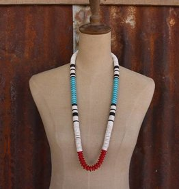 Red Turquoise White Black Large Disk Bead Necklace
