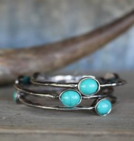 Set/3 Burnished Silver Bangles with TQ Ovals