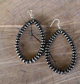 Silver and Black Teardrop Earring