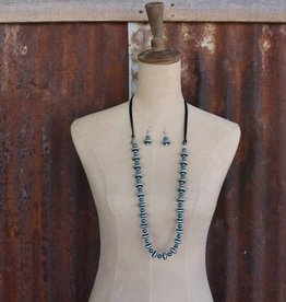 Silver and TQ Bead with Black Leather Accent Necklace Set