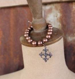 Single Strand Burnished Copper Stretch Bracelet with Cross Charm