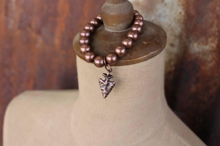 Single Strand Matte Copper Stretch Bracelet with Arrowhead Charm