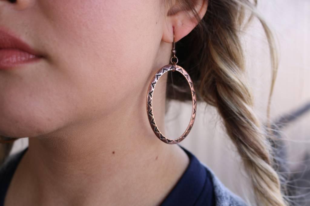 Tribal Design Copper Hoop