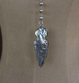 Punchy's Worn Silver Bead Arrowhead Necklace Set with Rhinestone Accents
