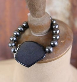 Worn Silver Stretch Bracelet with Black Chunk Stone