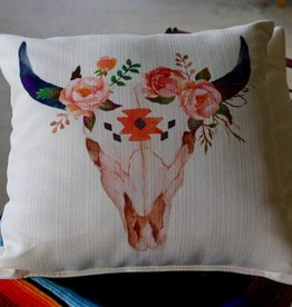 Aztec Bison Skull Pillow with 3 Roses