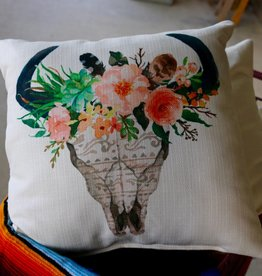 Aztec Bison Skull with Flower Crown Pillow