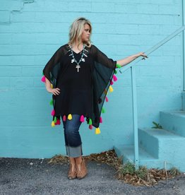 Black Poncho with Multi-Color Tassels