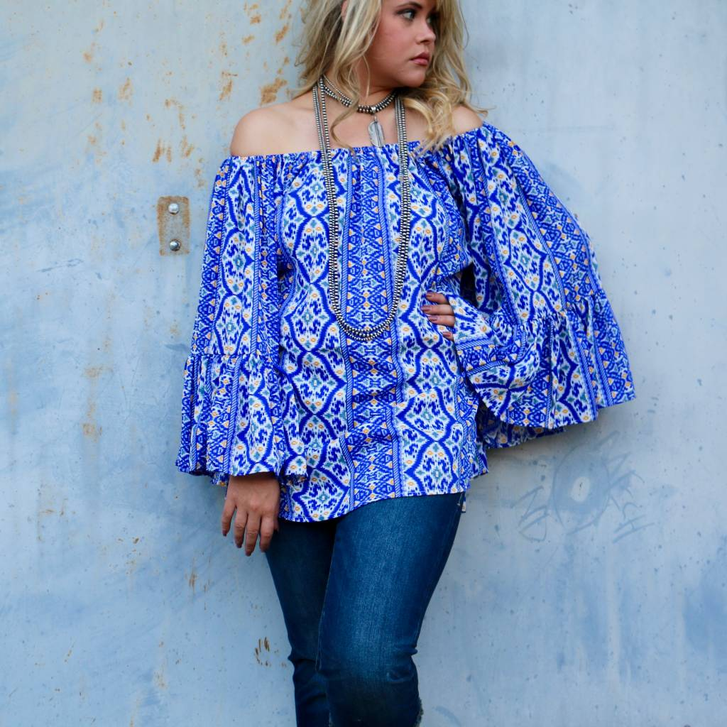 Blue Mosaic Off-The-Shoulder Top