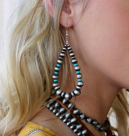 Campetos Turquoise Multi Size Navajo Pearl Teardrop Earring