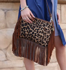 Leopard Crossbody with Fringe