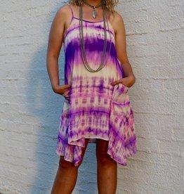 Purple Tie Dye Flowy Dress with Pockets