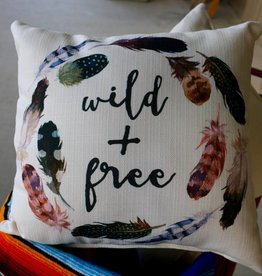Wild and Free Pillow with Feathers