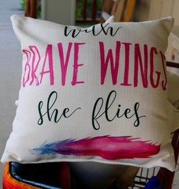 With Brave Wings Pillow