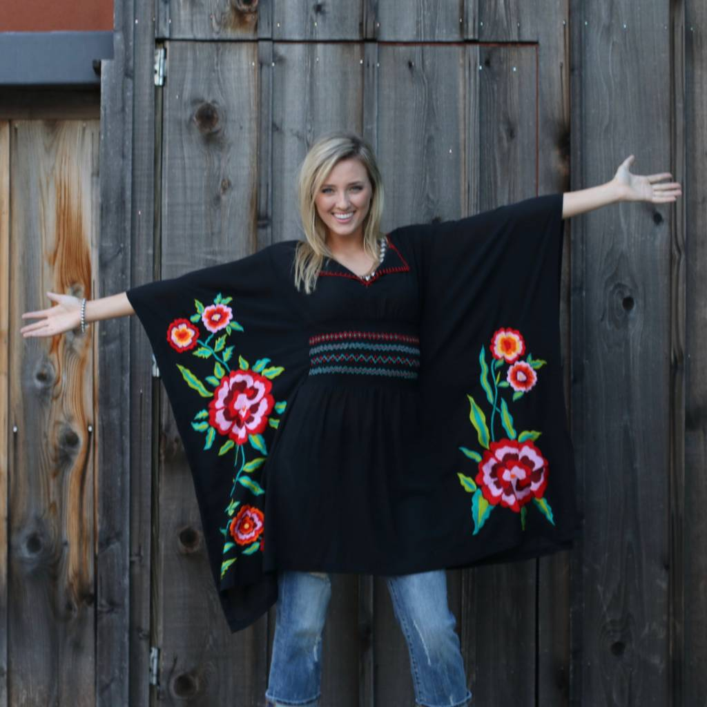 Black Poncho with Hand Threaded Embroidery