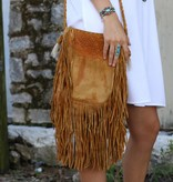 Tan Leather Pouch Bag With Fringe