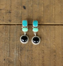 Fox Campetos Turquoise Black Onyx Earring