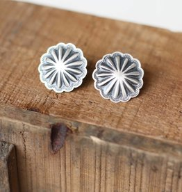 Round Sterling Silver Concho Earring