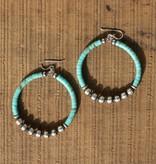 Turquoise  and Navajo Pearl Hoop Earring
