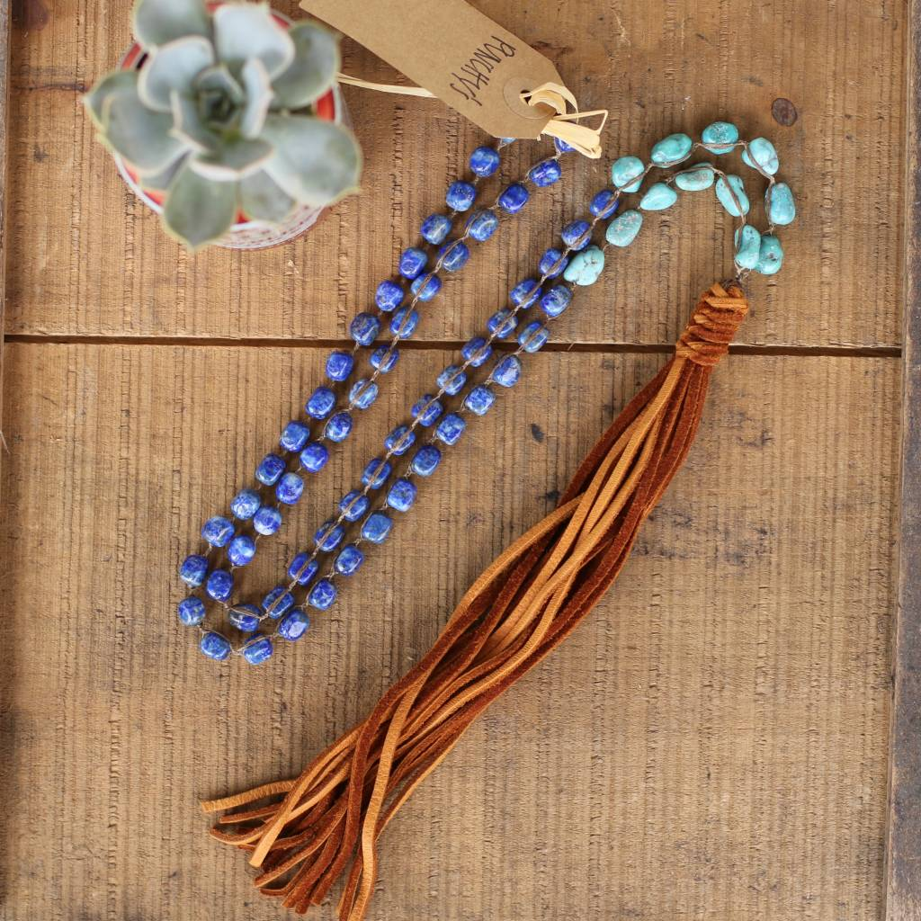 Lapis and Turquoise Stone Necklace with Leather Tassel