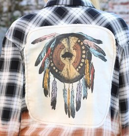 Black Ombre Long Sleeve Button Up with Dream Catcher Patch