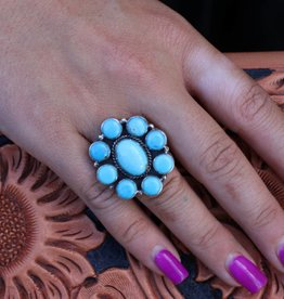 Campetos Turquoise Flower Ring size 6.5