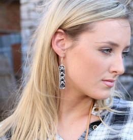 Hammered Sterling Silver and Black Onyx Bar Earring
