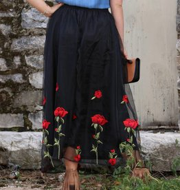 Rose Boho Skirt Black