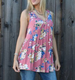 Pink Floral Sleeveless Top with T-Back