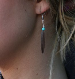 Real Feather and Turquoise Earring