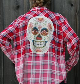 Red Ombre Long Sleeve Button Up with Skull Patch