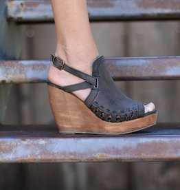 Grey Leather Wedge with Wood Bottom