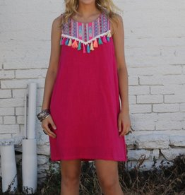 Hot Pink Embroidered Tassel Dress