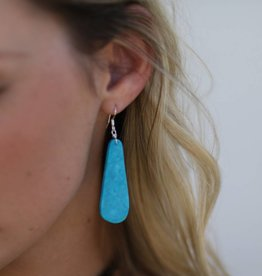 "1 3/4"" Teardrop Compressed Blue Turquoise Earring"