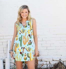 Aqua Lime Cactus Swing Dress with Tie Neckline