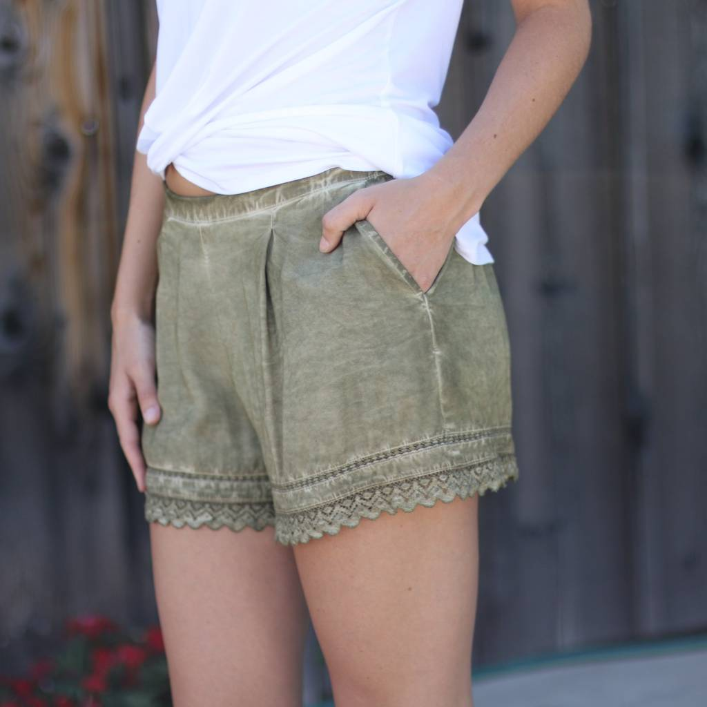 Black Swan Army Green Lace Shorts