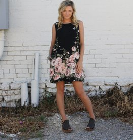 Black Floral Print Sleeveless Shift Dress