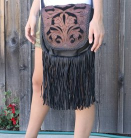 Black Leather Hand Tooled Crossbody Bag